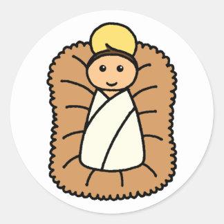 Bebé Jesús Pegatina Redonda