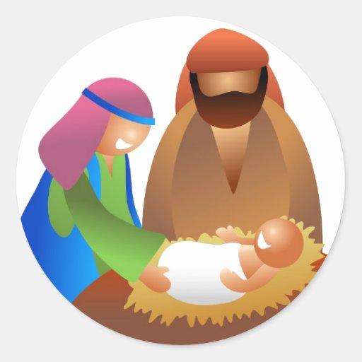 Bebé Jesús Pegatinas Redondas