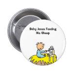 Bebé Jesús que alimenta su botón de las ovejas Pin