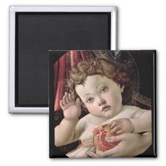 Bebé Jesús que sostiene Pompegranate Imán Cuadrado