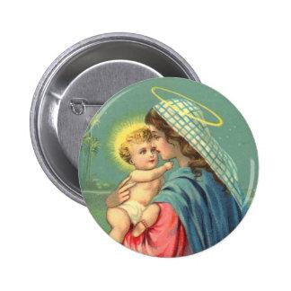 Bebé Jesús y botón del Virgen María Pin