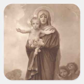 Bebé Jesús y madre Maria Colcomanias Cuadradas
