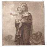 Bebé Jesús y madre Maria Servilleta Imprimida