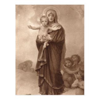 Bebé Jesús y madre Maria Postal