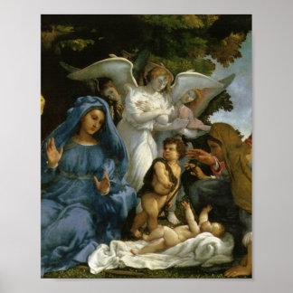 Bebé Jesús y Maria con los santos Poster