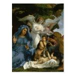 Bebé Jesús y Maria con los santos Postal