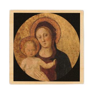 Bebé Jesús y Maria debajo y arco Posavasos De Madera