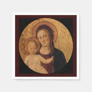 Bebé Jesús y Maria debajo y arco Servilletas De Papel