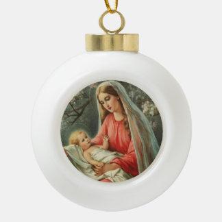 Bebé Jesús y Maria del vintage Adorno De Cerámica En Forma De Bola