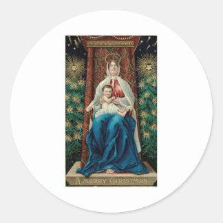 Bebé Jesús y Maria en navidad Pegatina Redonda