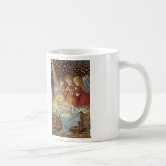 Bebé Jesús y taza de café cruzada de la puntada de