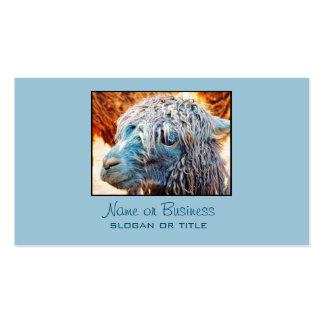 Bebé lindo de la alpaca en azul tarjetas de visita