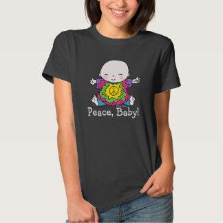 Bebé lindo de la paz del Hippie del teñido anudado Playeras