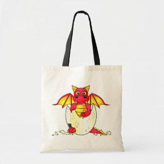Bebé lindo del dragón en el huevo agrietado - rojo