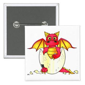 Bebé lindo del dragón en el huevo agrietado - rojo pin cuadrado