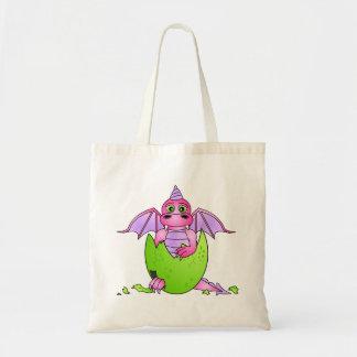 Bebé lindo del dragón en el huevo agrietado - rosa bolsa tela barata
