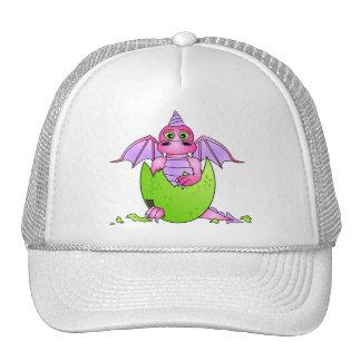 Bebé lindo del dragón en el huevo agrietado - rosa gorras