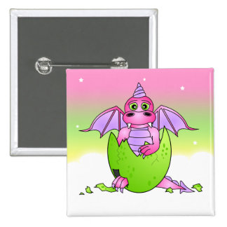Bebé lindo del dragón en el huevo agrietado - rosa pin cuadrado