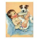 Bebé lindo del vintage con el perro de la botella  invitacion personalizada