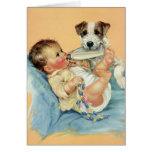 Bebé lindo del vintage con el perro de la botella tarjeta
