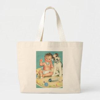 Bebé lindo del vintage que habla en perro de bolsa tela grande