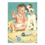 Bebé lindo del vintage que habla en perro de perri anuncios