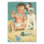 Bebé lindo del vintage que habla en perro de tarjeta de felicitación