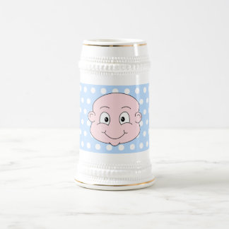Bebé lindo, en modelo de lunar azul jarra de cerveza