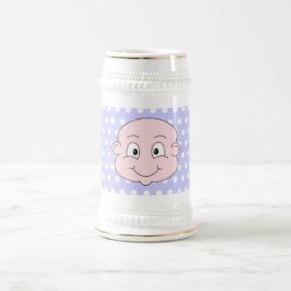 Bebé lindo, en modelo de lunar de la lila jarra de cerveza