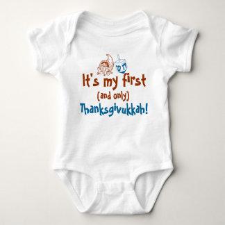 Bebé lindo es mi primer y solamente Thanksgivukkah Body Para Bebé