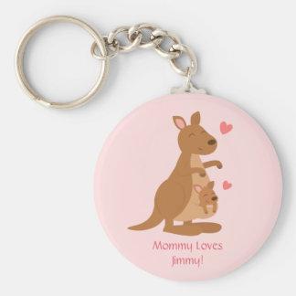 Bebé lindo Joey del canguro para los niños Llavero Redondo Tipo Pin