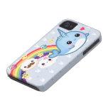 Bebé lindo narwhal con el arco iris, las nubes y l Case-Mate iPhone 4 funda