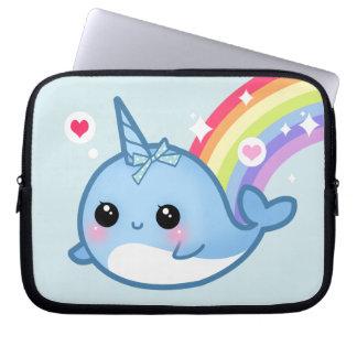 Bebé lindo narwhal y arco iris manga portátil