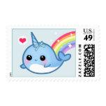 Bebé lindo narwhal y arco iris sellos