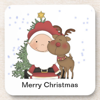 Bebé lindo Papá Noel y navidad del reno Posavasos