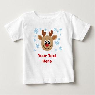 Bebé lindo personalizado del bebé del reno playera de bebé