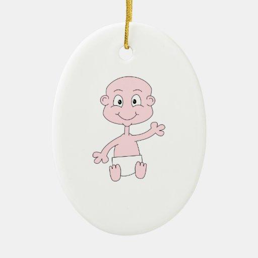 Bebé lindo que agita adorno ovalado de cerámica