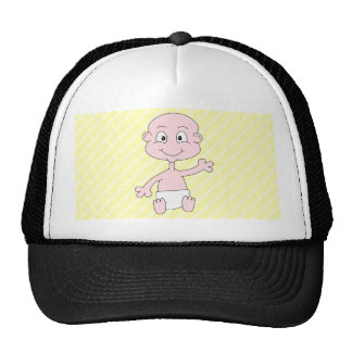 Bebé lindo que agita, en rayas amarillas. Personal Gorros Bordados