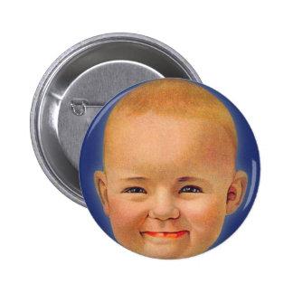 Bebé lindo sonriente loco del kitsch del vintage chapa redonda 5 cm