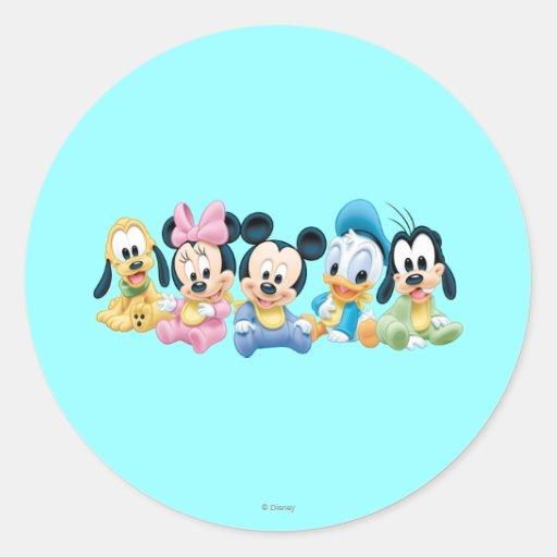 Bebé Mickey y amigos Pegatina Redonda