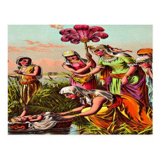 Bebé Moses en la postal del río