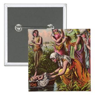 Bebé Moses en una cesta Pin Cuadrado