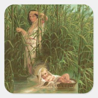 Bebé Moses y el río el Nilo Calcomanía Cuadrada Personalizada