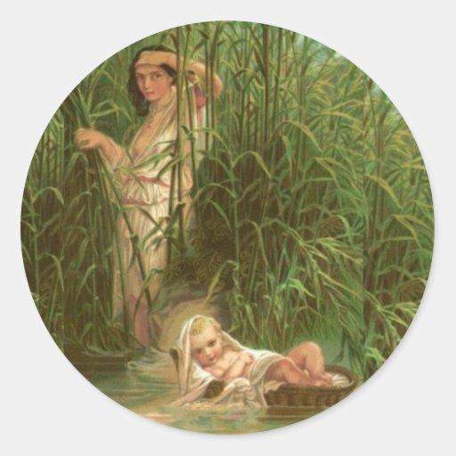 Bebé Moses y el río el Nilo Pegatinas Redondas