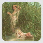 Bebé Moses y el río el Nilo Pegatina Cuadrada