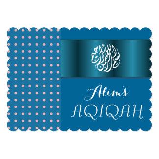 """Bebé musulmán Aqiqah azul islámico Invitación 5"""" X 7"""""""