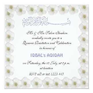 """Bebé musulmán Aqiqah Invitación 5.25"""" X 5.25"""""""