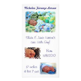 Bebé Nicholas de las invitaciones del nacimiento l Tarjetas Fotográficas