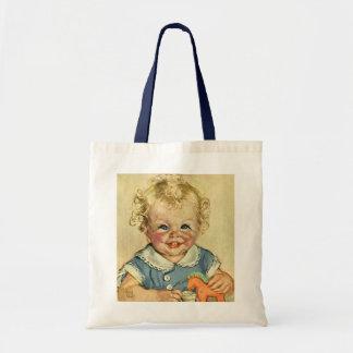 Bebé o chica escandinavo rubio lindo del vintage bolsa tela barata