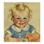 Bebé o chica escandinavo rubio lindo del vintage posters